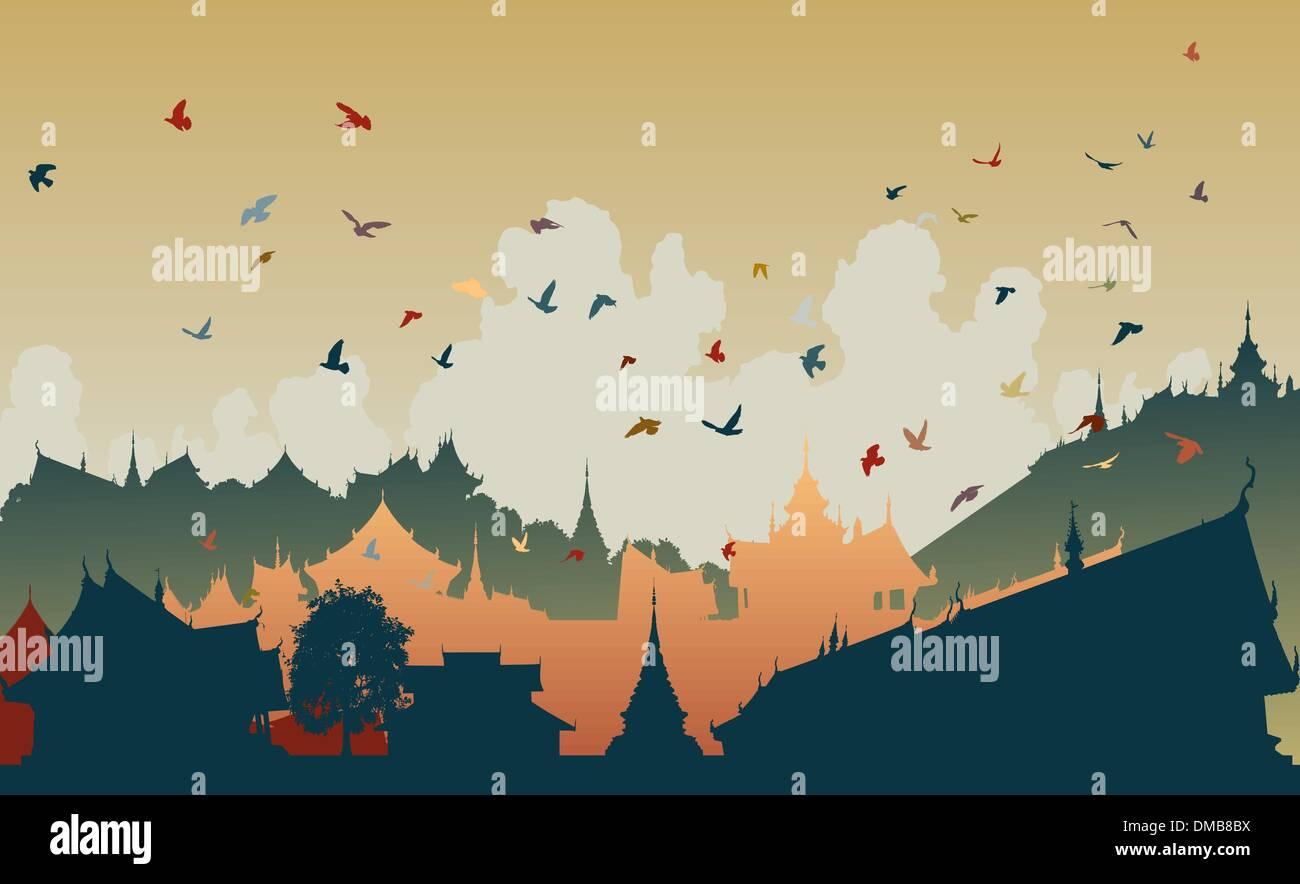 Orientale della città di uccelli Illustrazione Vettoriale