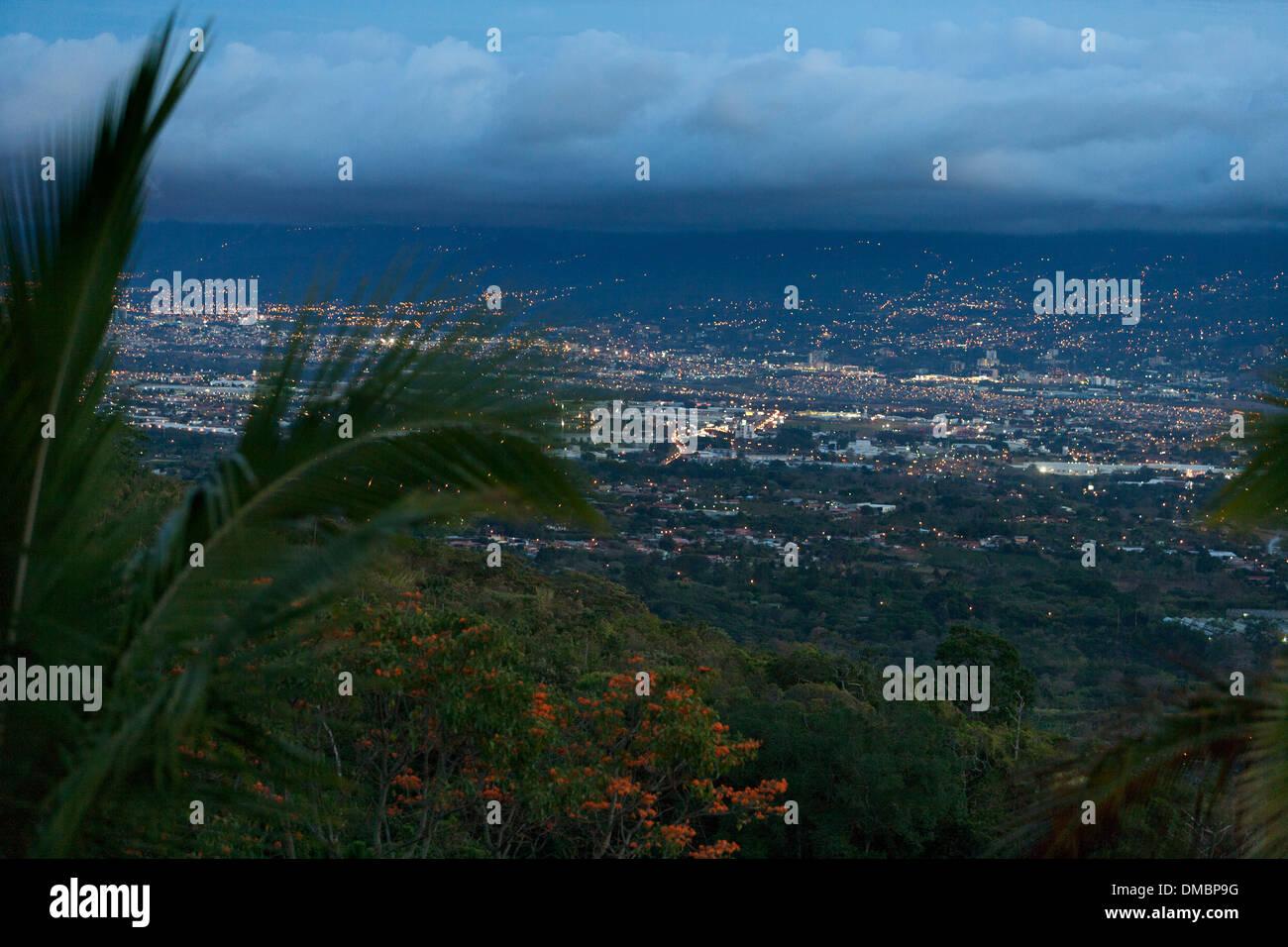 San Jose Costa Rica di notte Immagini Stock
