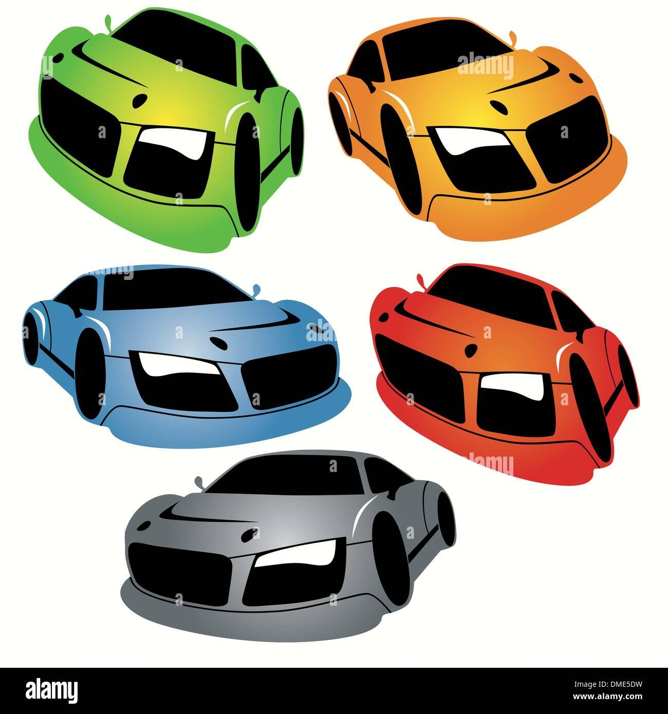 Stile Cartoon Racing Cars impostato Immagini Stock