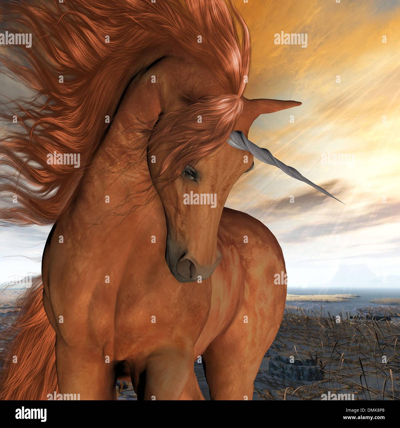 Un bellissimo unicorno castagno prances con la sua selvaggia criniera fluente e muscoli splendente. Immagini Stock