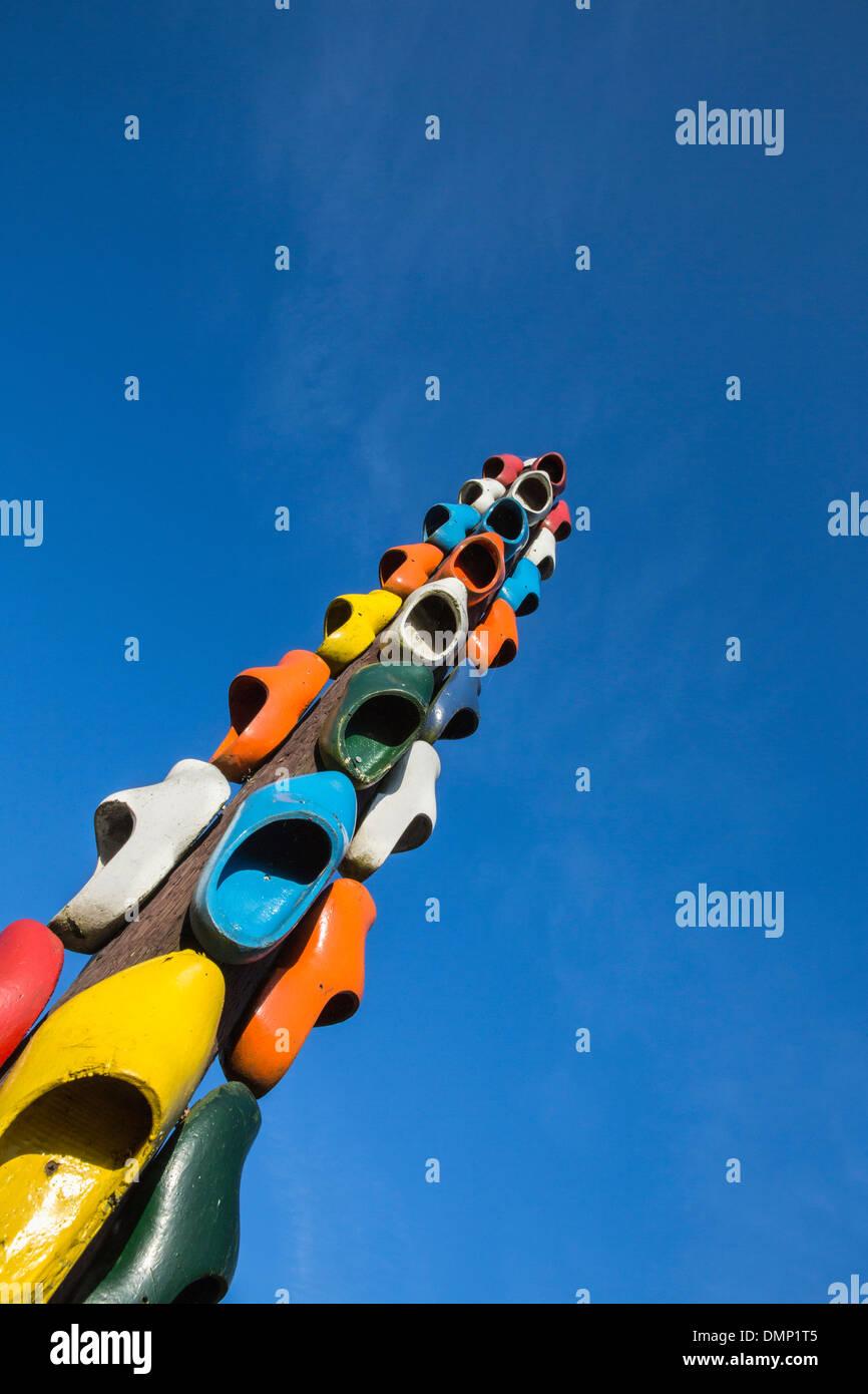 Paesi Bassi, Ankeveen, illustrazione fatta di zoccoli di legno Immagini Stock