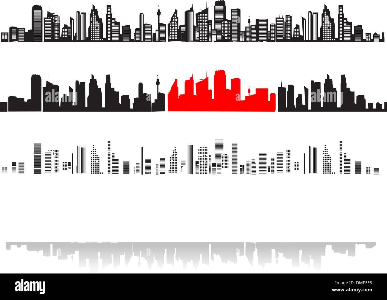 Panorama della città, sagome di case nero Illustrazione Vettoriale