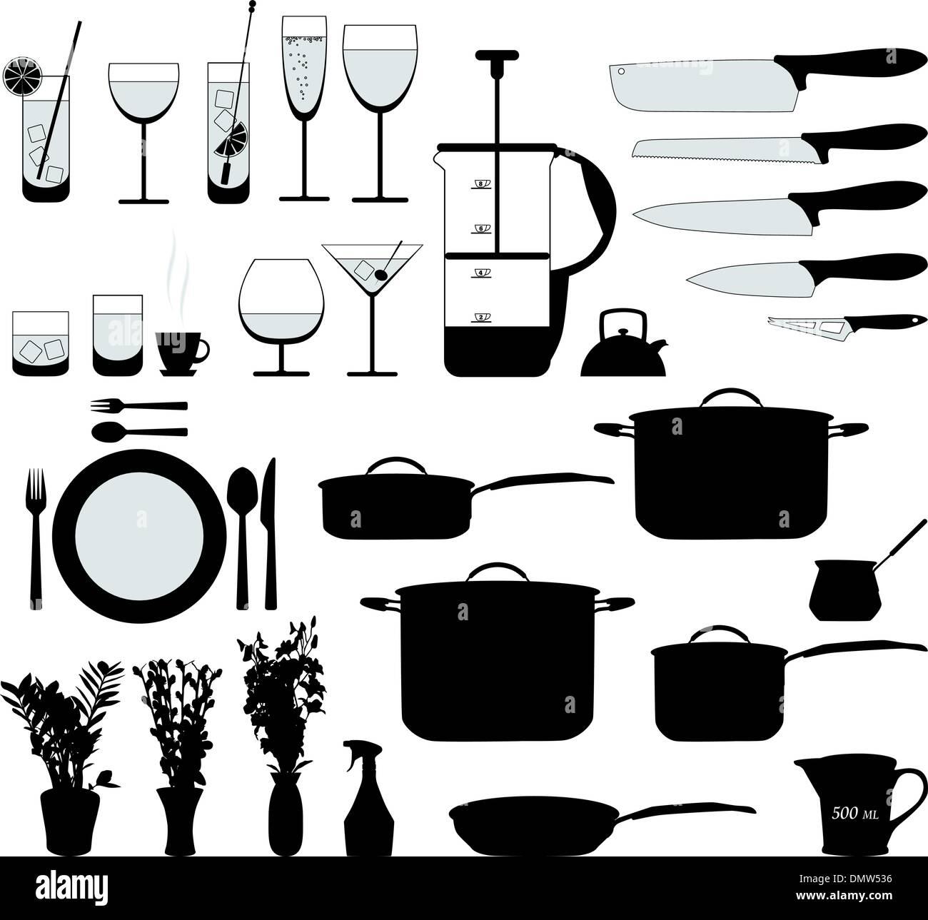 Piatti, pan, mixer e altri oggetti da cucina vettore silhouette ...