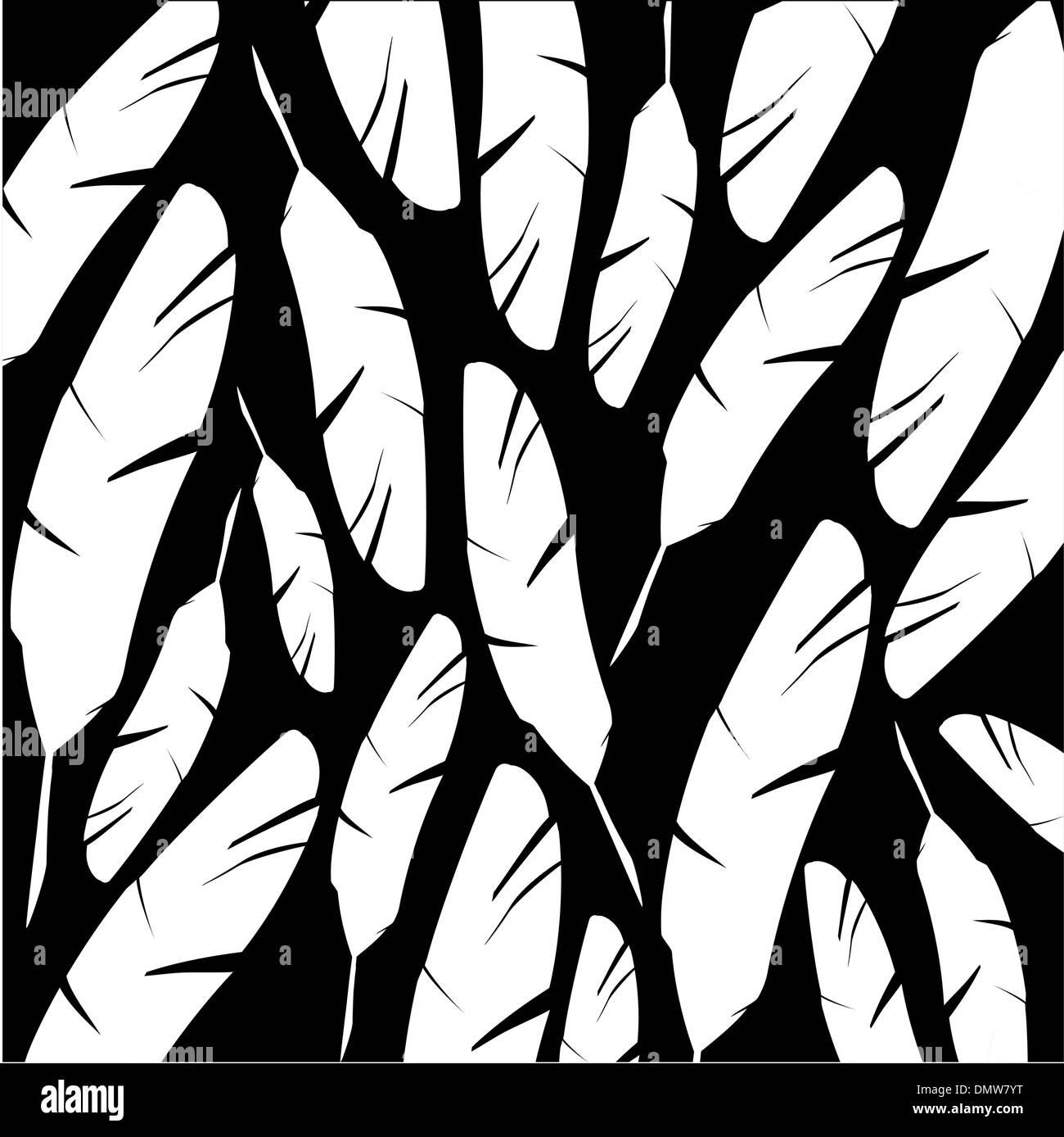 Nero e sfondo bianco con piume Illustrazione Vettoriale