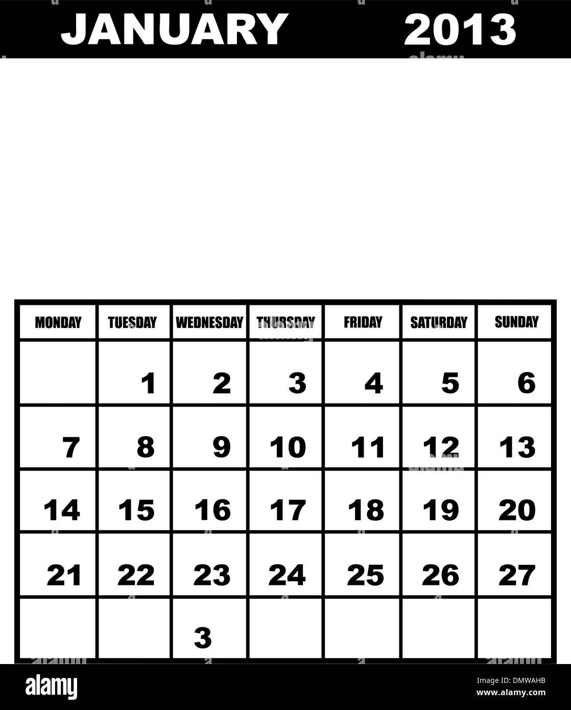 Calendario Gennaio.Calendario Gennaio 2013 Illustrazione Vettoriale 64481351