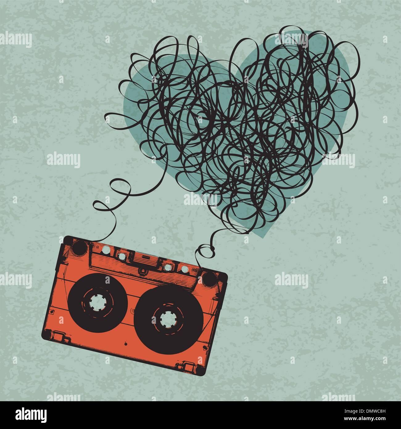 Vintage audiocassetta illustrazione con il cuore a forma di nastro disordinato. Immagini Stock