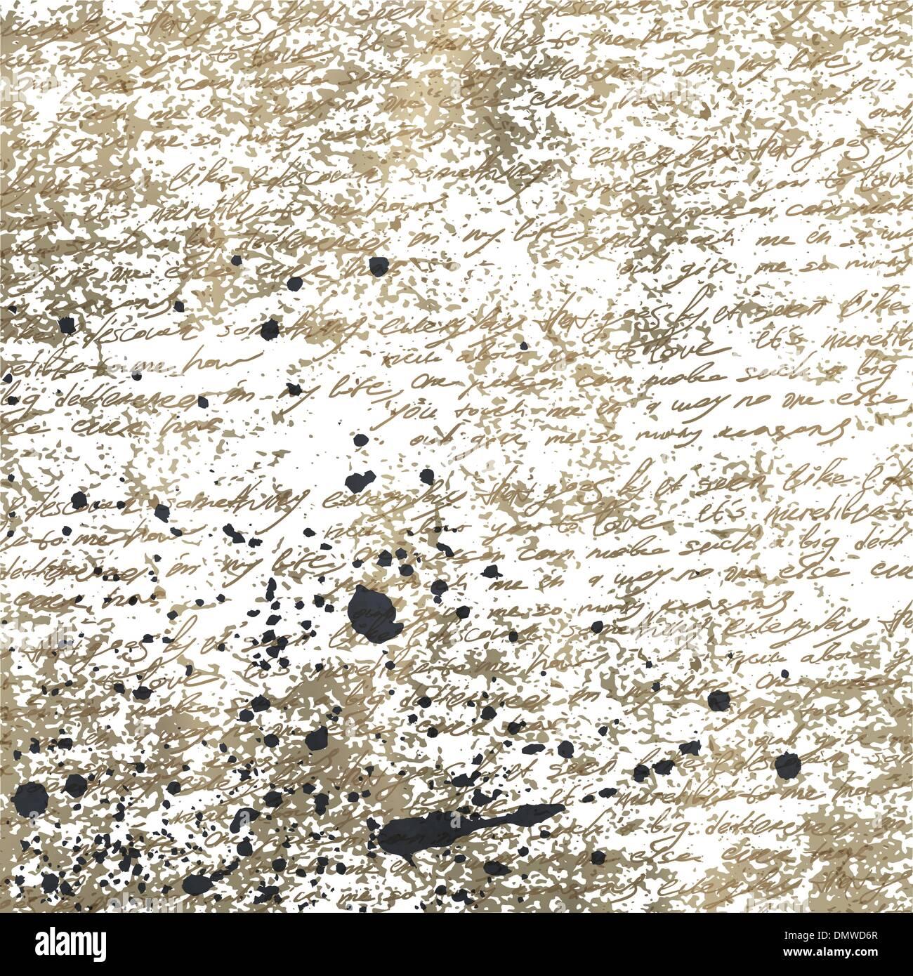 La grafia astratta sul vecchio accartocciata carta vintage con inchiostro splu Immagini Stock