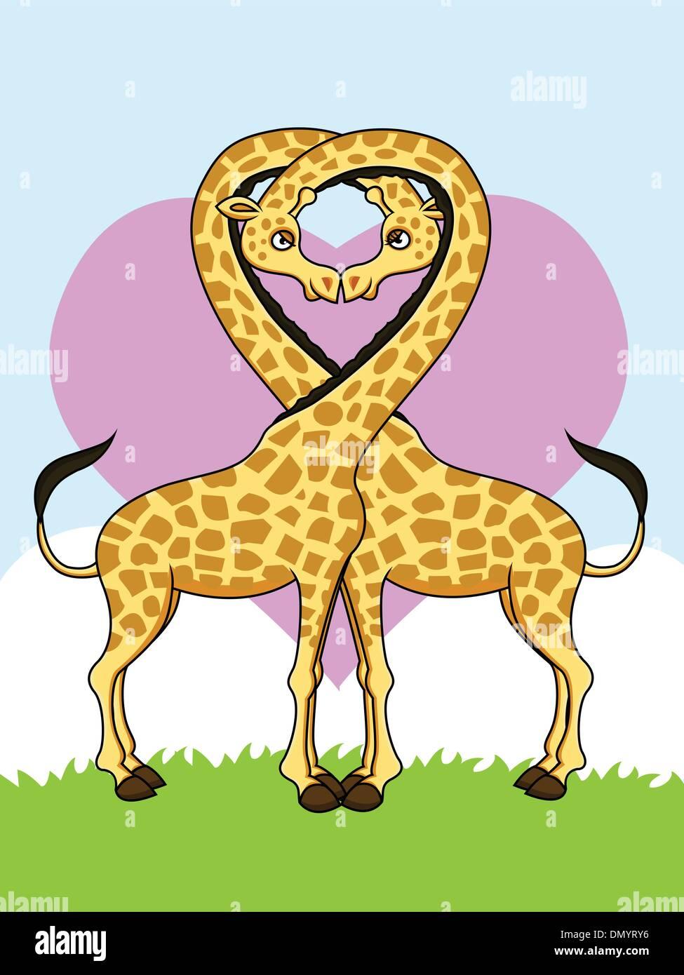 Due divertenti le giraffe in amore Illustrazione Vettoriale