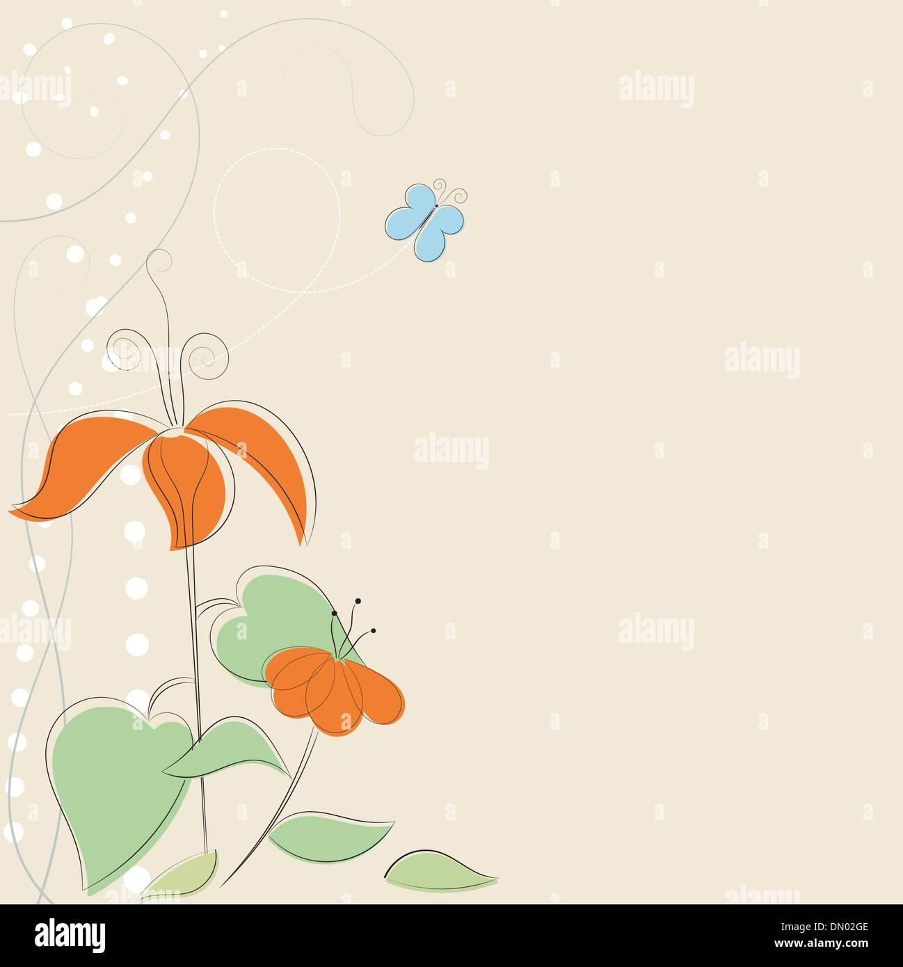 Sfondo Con Fiori Stilizzati E Butterfly Eps10 Illustrazione