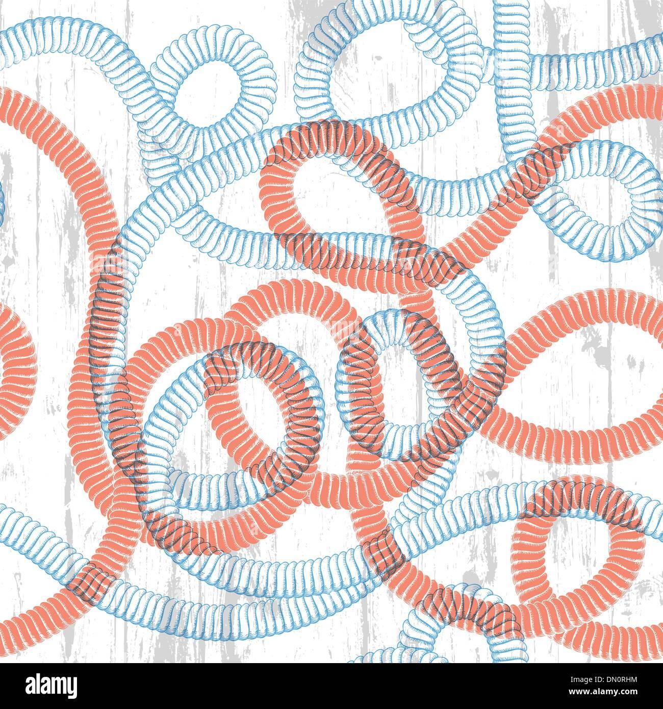 Corda seamless texture. Sailor a tema sfondo astratto. Vettore Immagini Stock