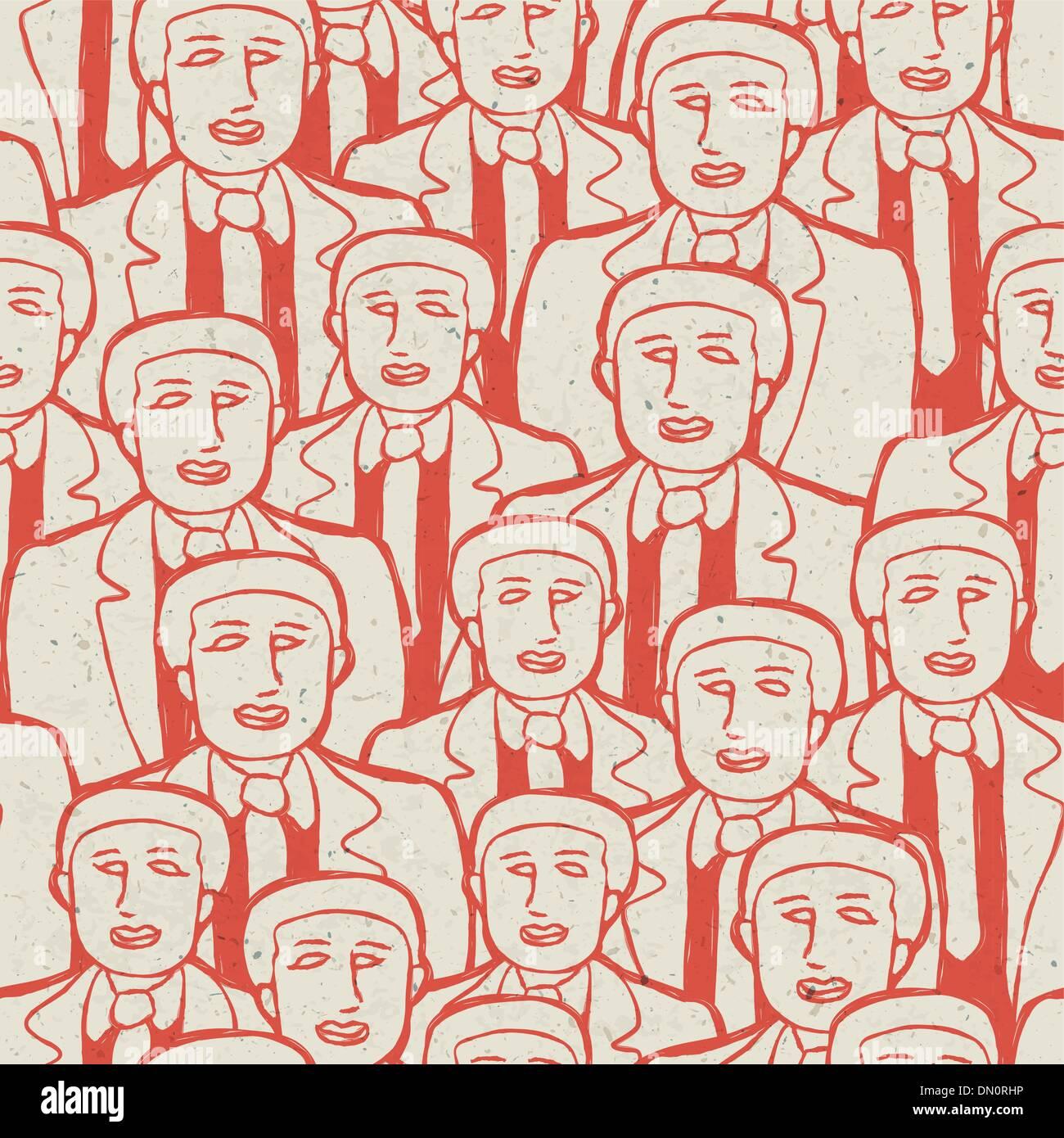 Abstract folla di uomini di affari. Modello senza giunture, vettore conce Immagini Stock