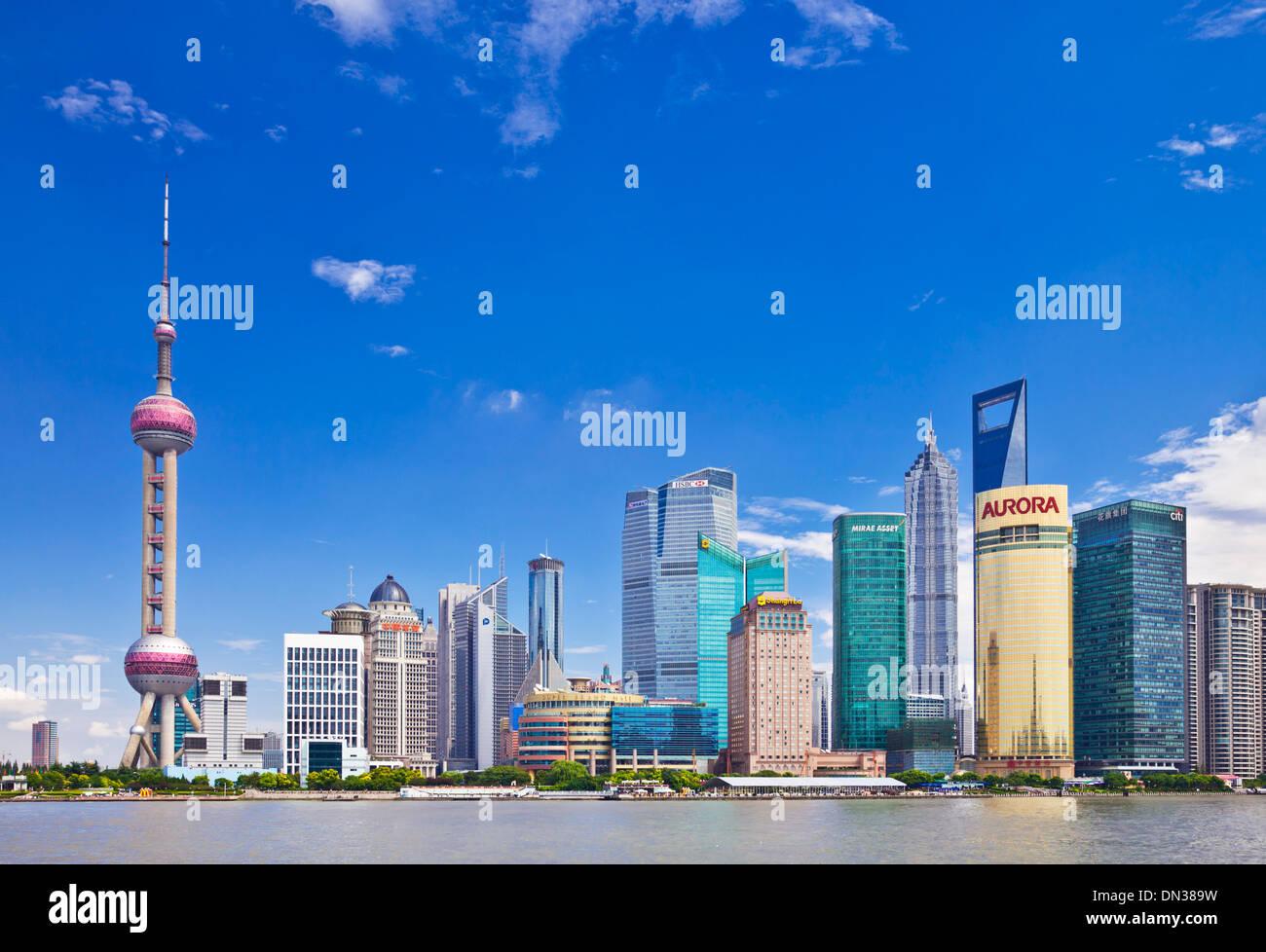 Shanghai Pudong Skyline con Oriental Pearl PRC, Repubblica Popolare di Cina e Asia Immagini Stock