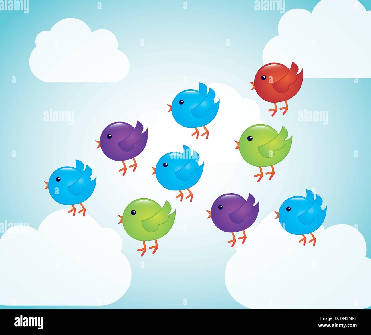Cartoni animati uccelli illustrazione vettoriale  alamy