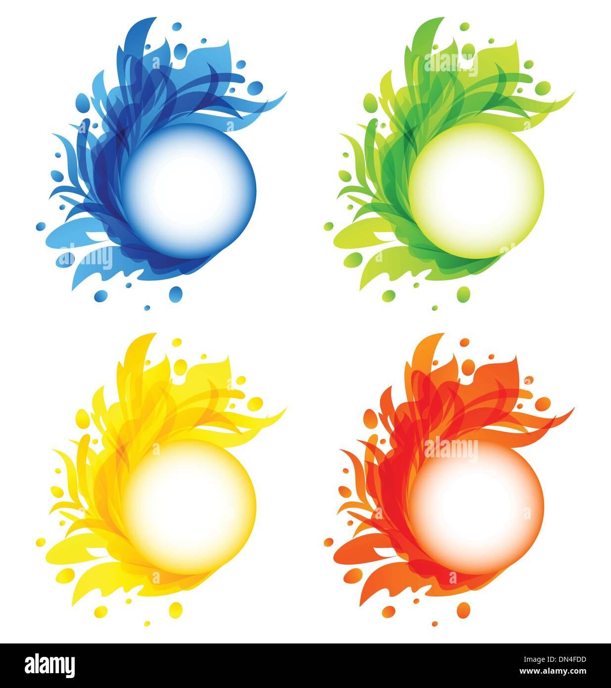 Quattro fiorire stagionali cornici colorate isolato Immagini Stock