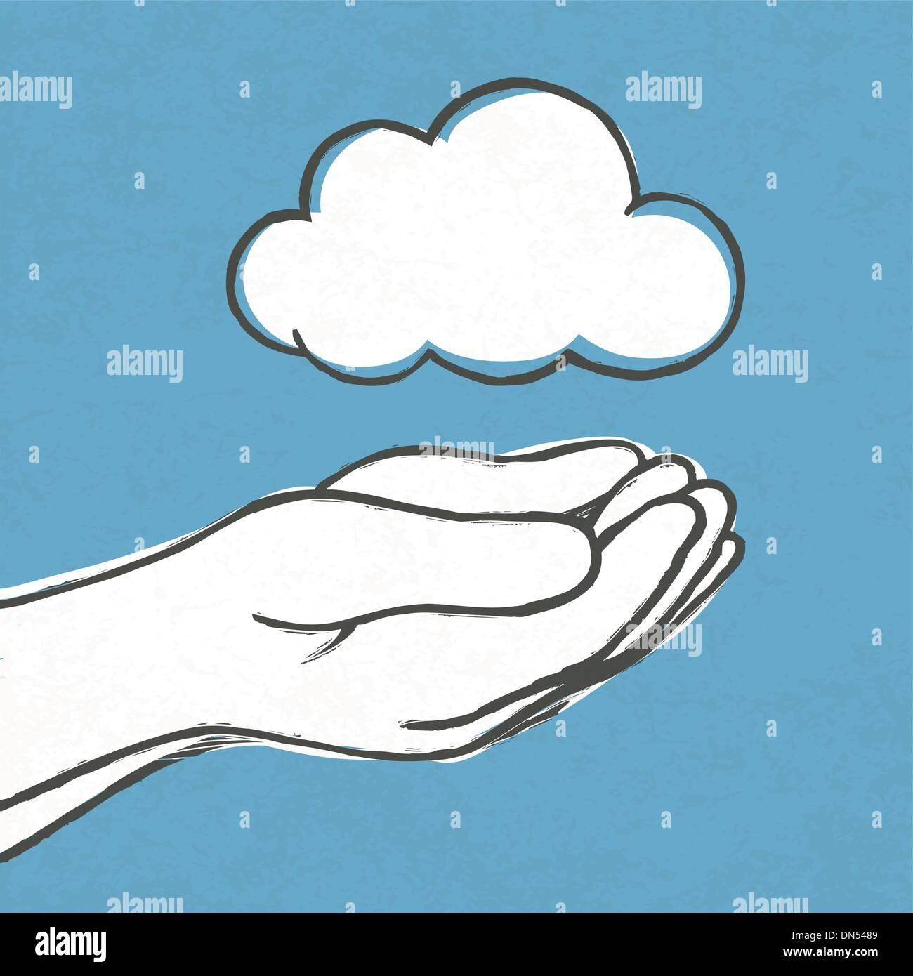 Il cloud in mani. Vettore, EPS10 Immagini Stock