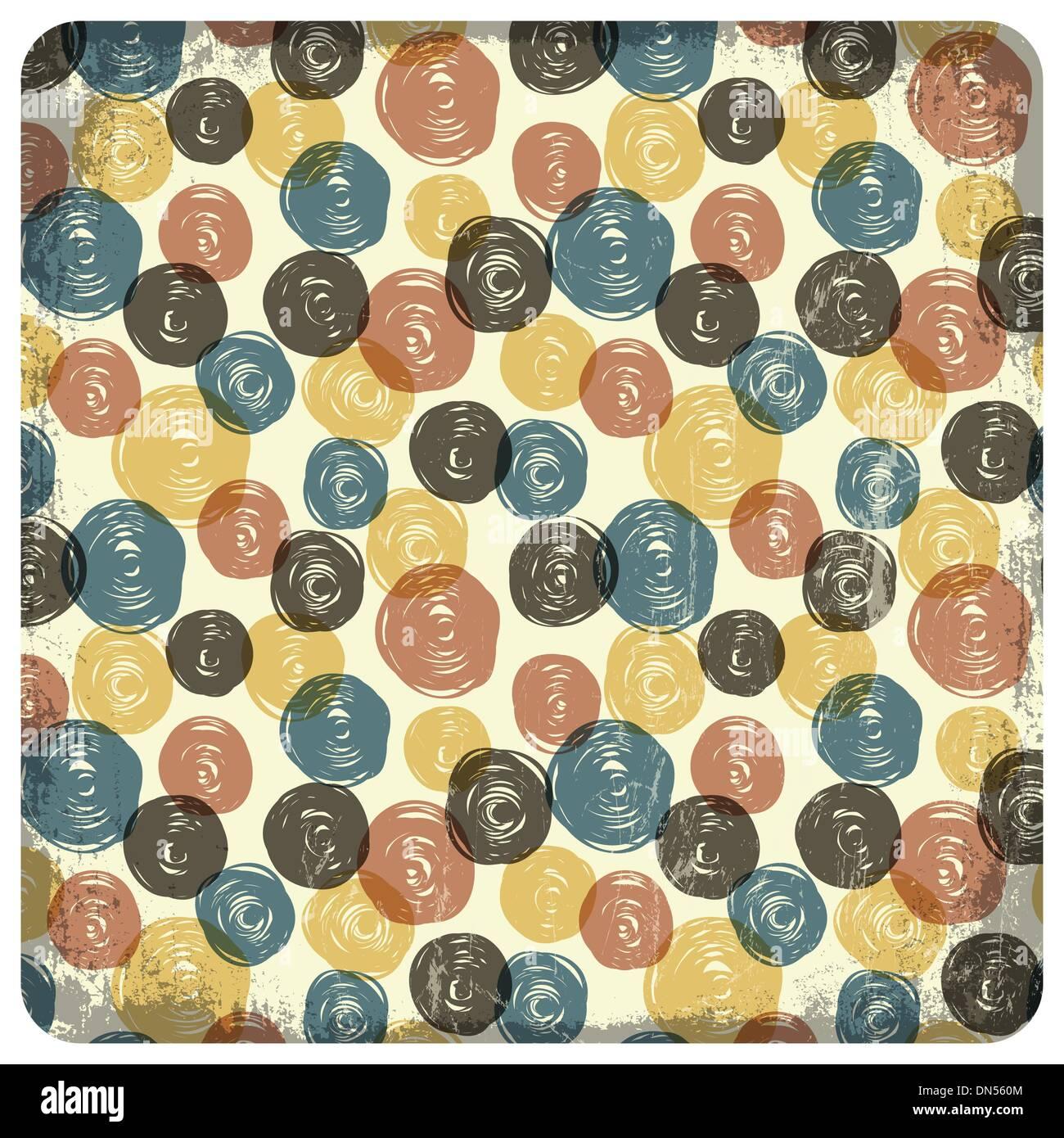 Vintage colorati seamless pattern (sfere scarabocchi). Vettore Immagini Stock