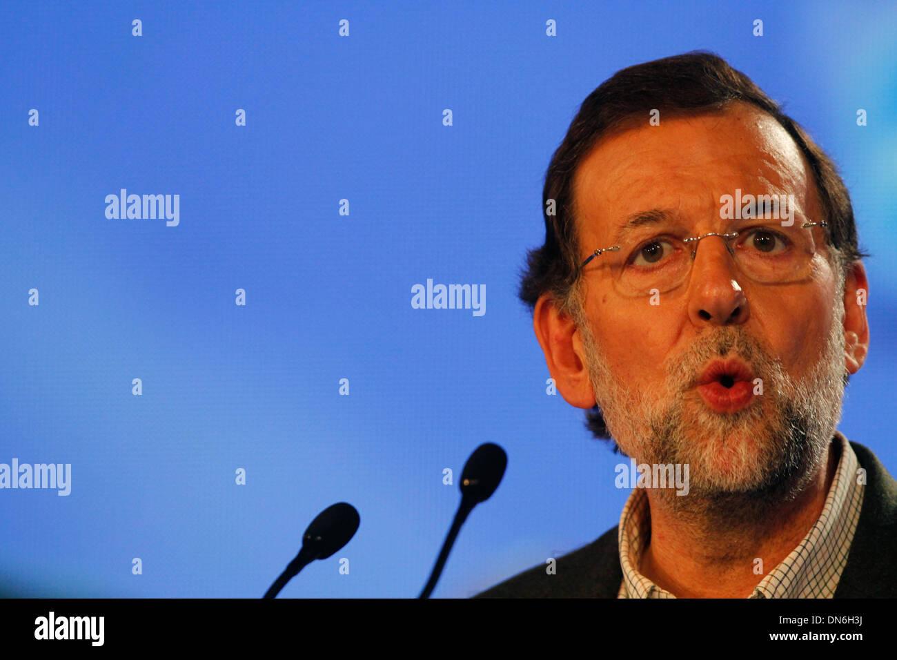 In Spagna il primo ministro Mariano Rajoy gesti durante una riunione a Maiorca, SPAGNA Immagini Stock