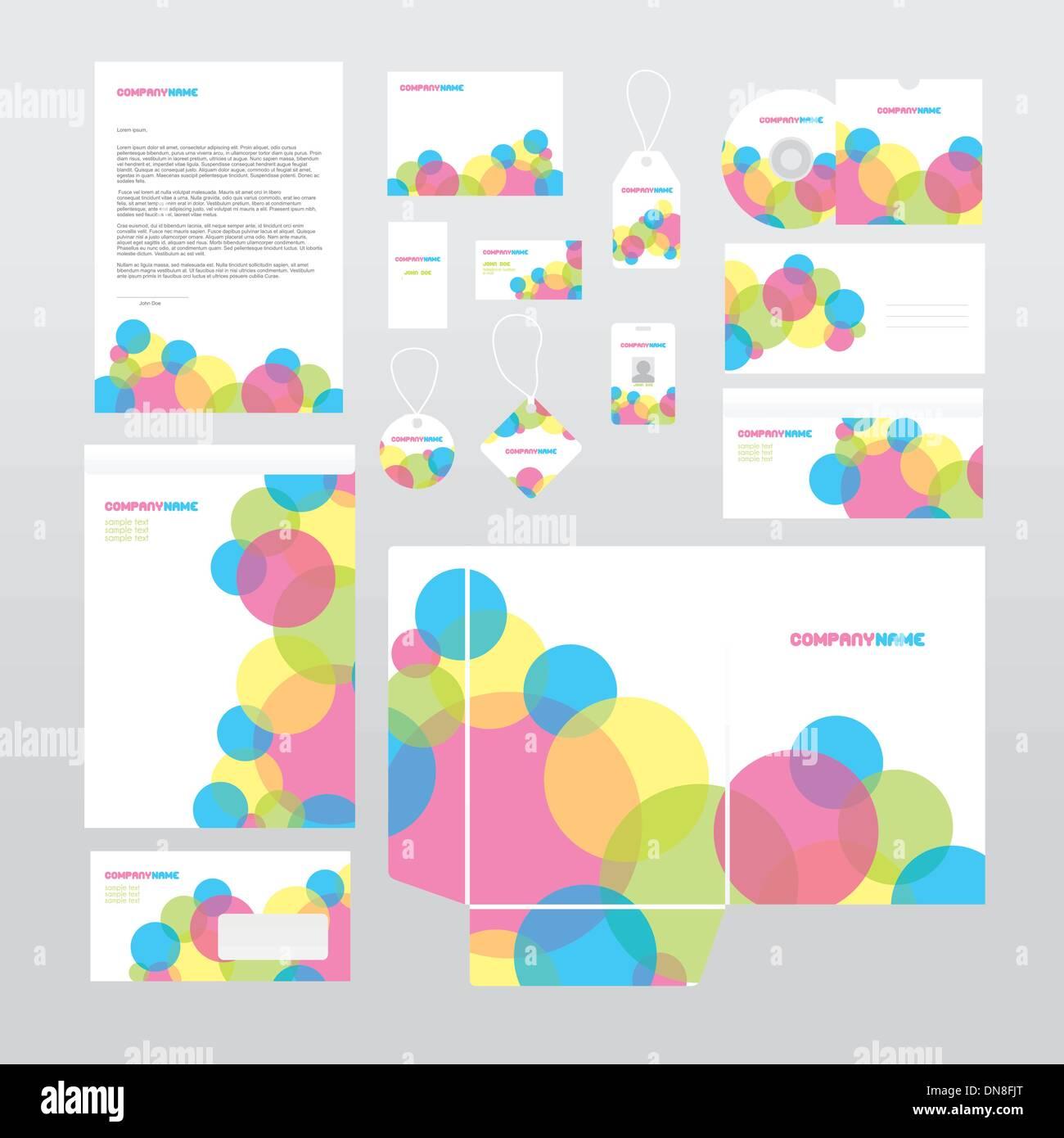 Vettore set di cancelleria con cerchi colorati Immagini Stock