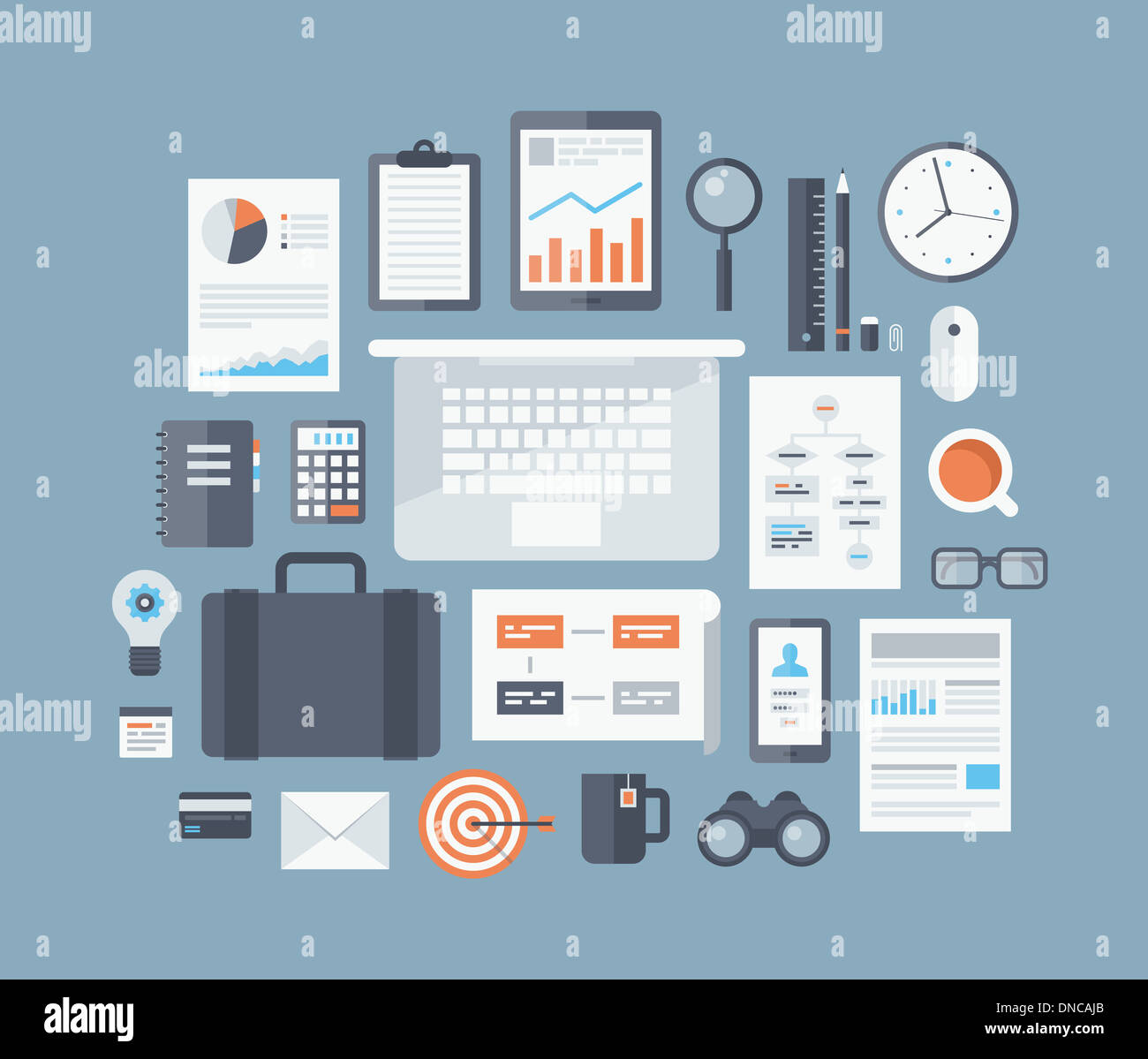 Moderno design illustrazione piana concetto di business gli elementi del flusso di lavoro e gli elementi, ufficio le cose e attrezzature Immagini Stock