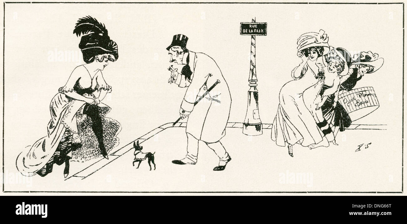 Parisien boulevard di scena nel 1910. Immagini Stock