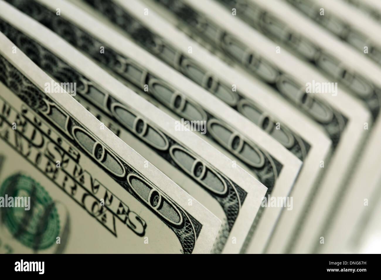 Banconote da cento dollari Immagini Stock