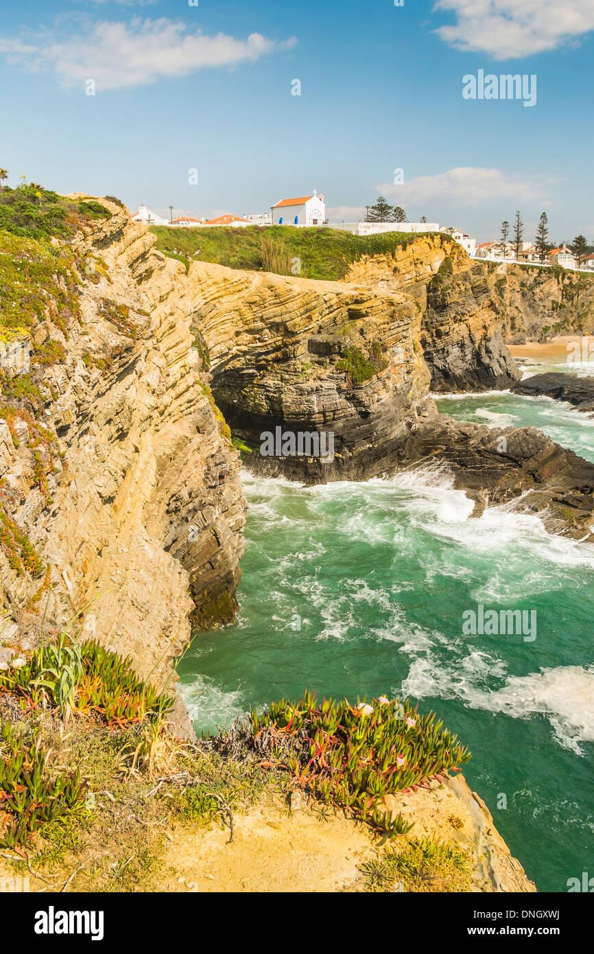 Vista di zambujeira do Mar, in primo piano la vegetazione tipica della zona costiera del parco naturale _ Parque natural Immagini Stock