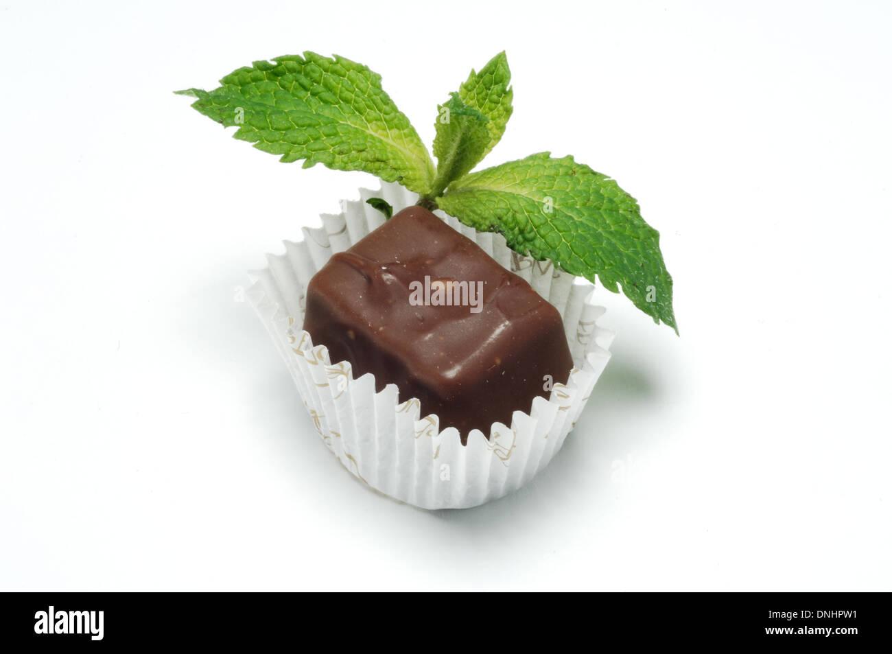 Un piccolo cioccolato confezionati trattare con un rametto di menta, Immagini Stock