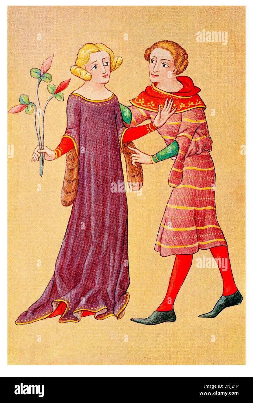 Signora inglese e gioventù parlando tardo XIV secolo Immagini Stock