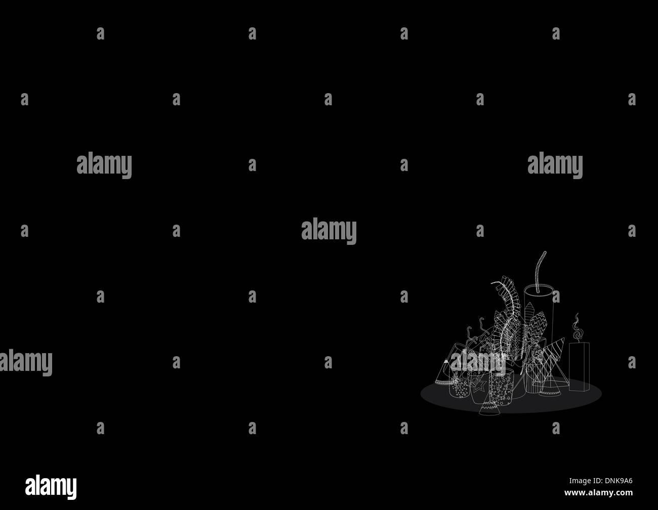 Diwali petardi isolati su sfondo nero Foto Stock