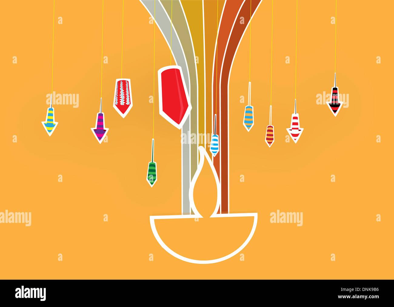 Diwali lampada a petrolio con petardi isolati su sfondo arancione Foto Stock