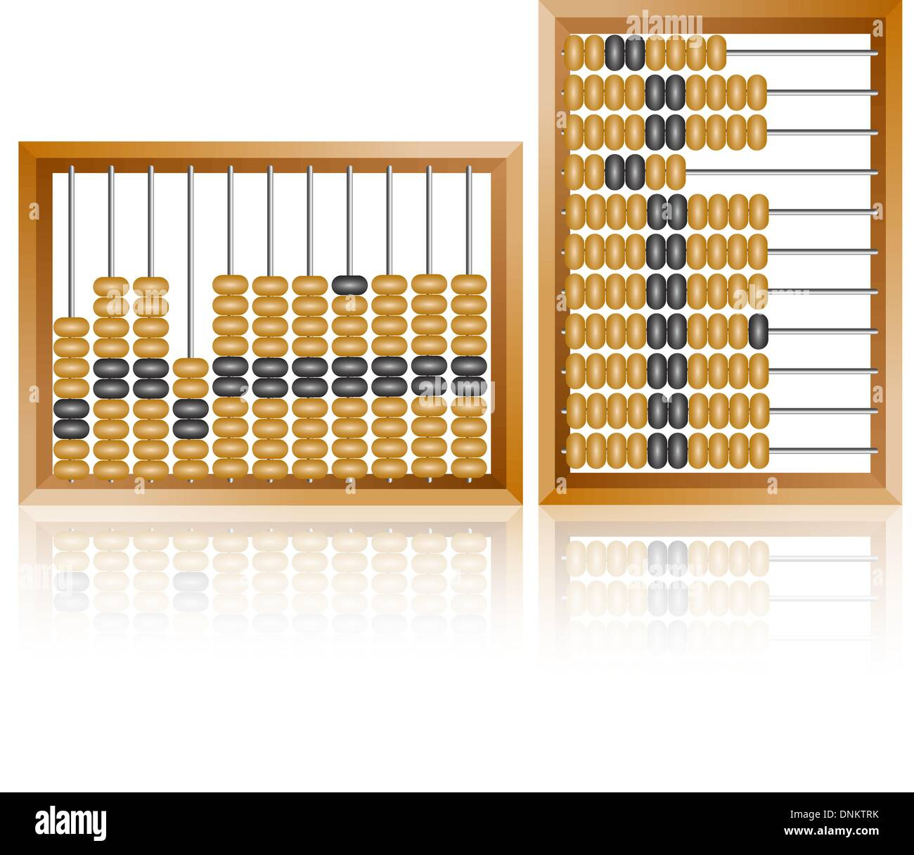 Abacus contabile per i calcoli finanziari giace su un fondo bianco Illustrazione Vettoriale