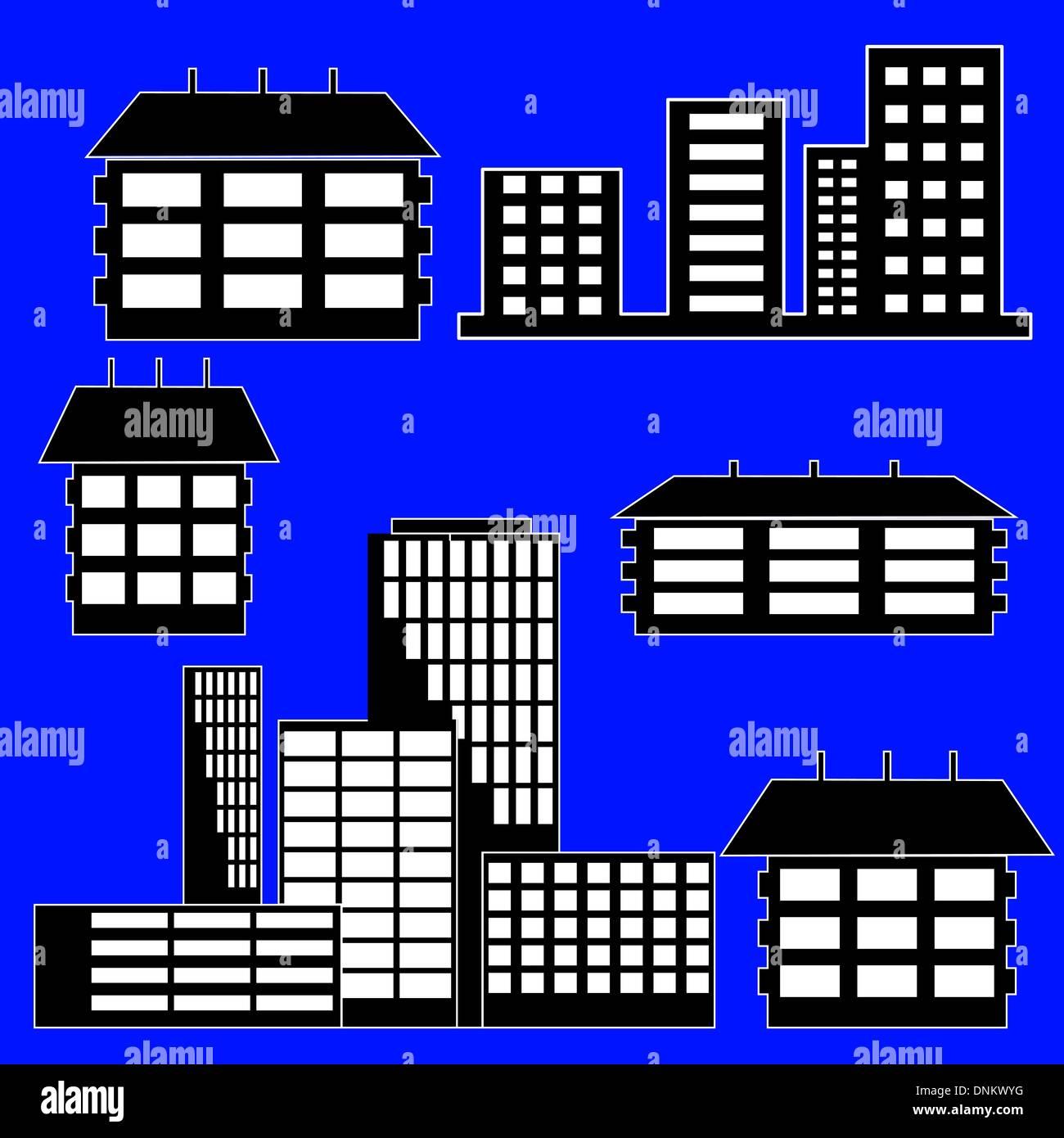 Diversi tipi di case ed edifici - Illustrazione Vettoriale Immagini Stock