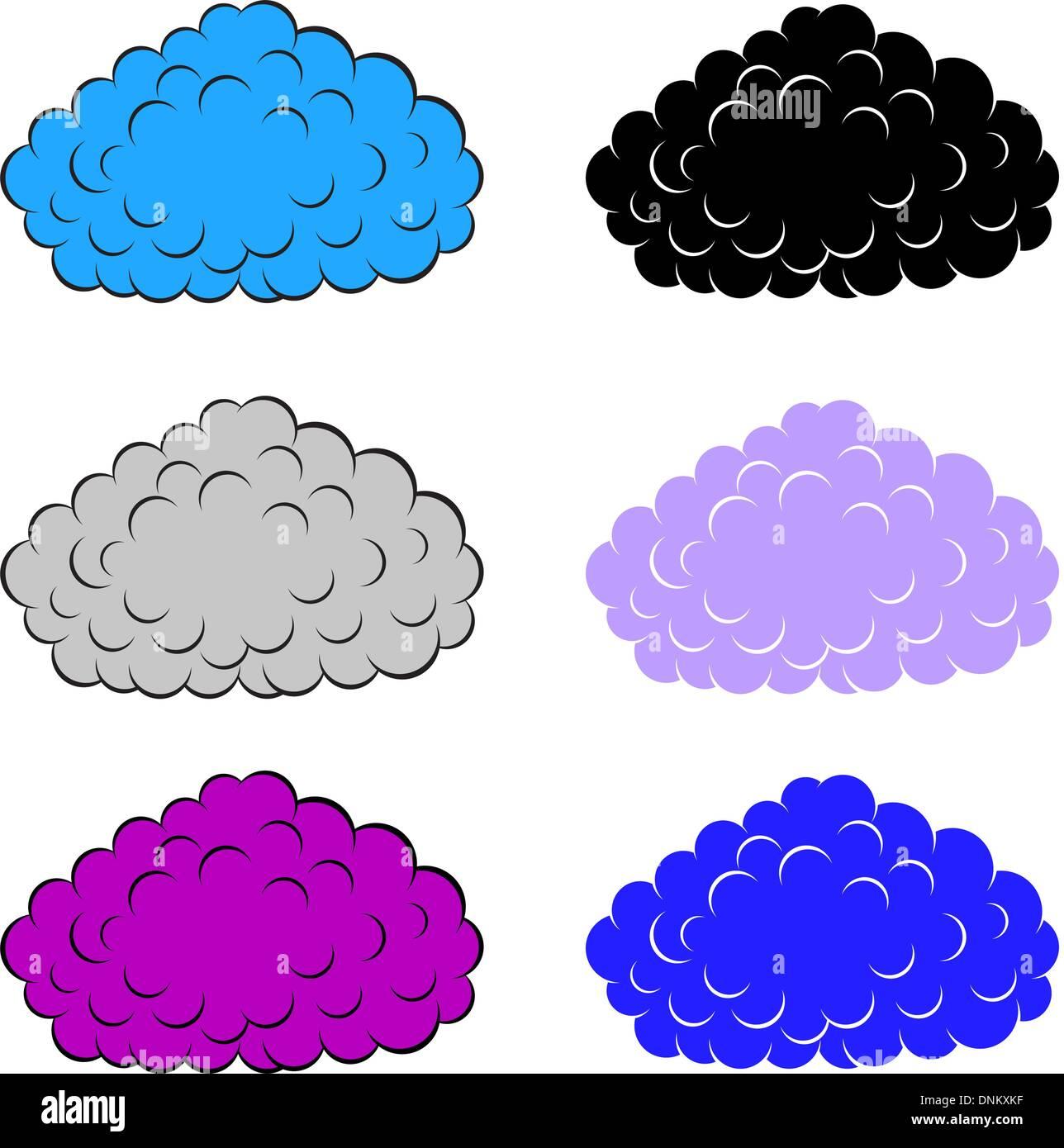 Set di le nuvole colorate, illustrazione vettoriale Immagini Stock