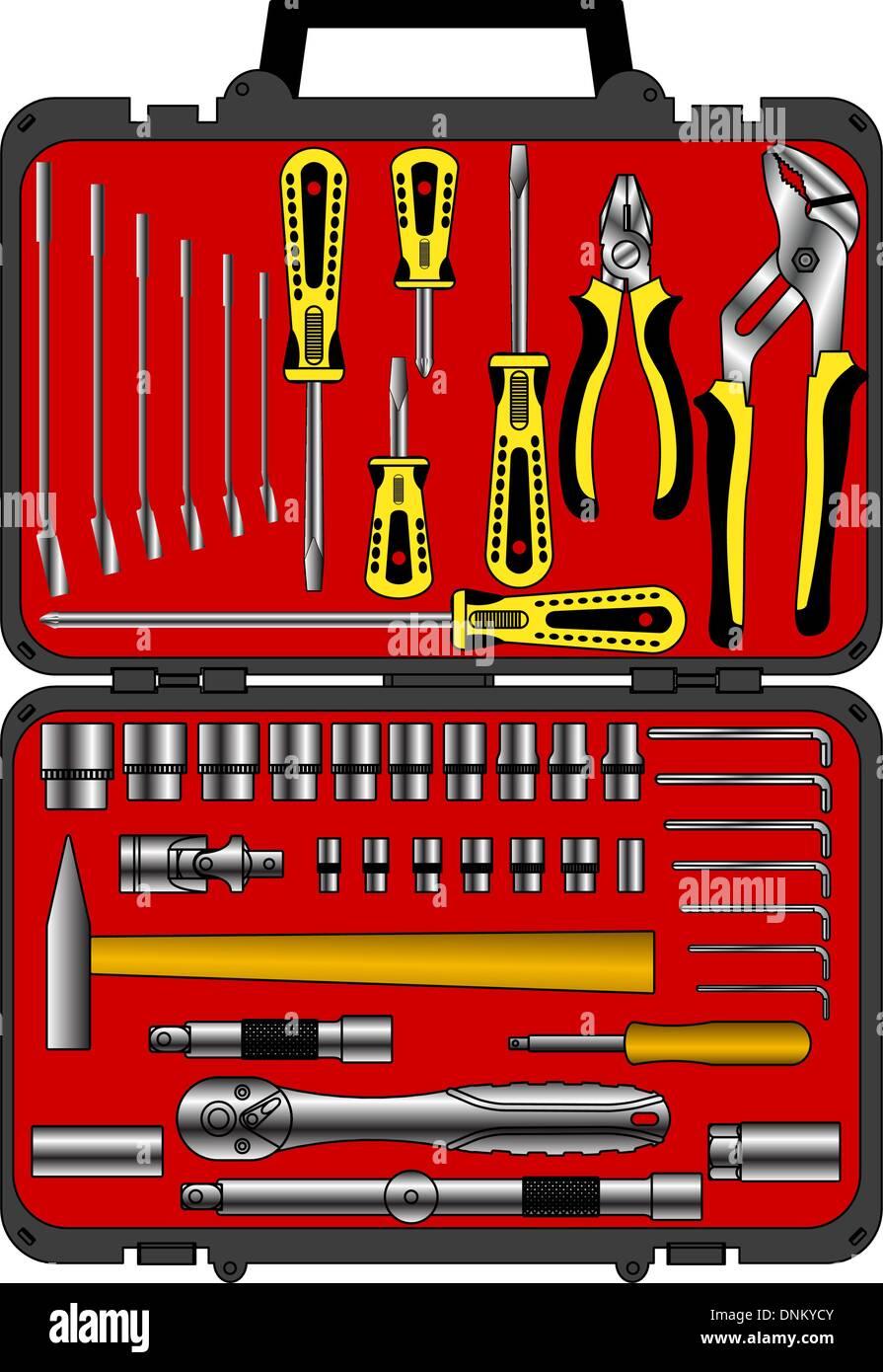 Set di vettore di diversi strumenti in una scatola Immagini Stock