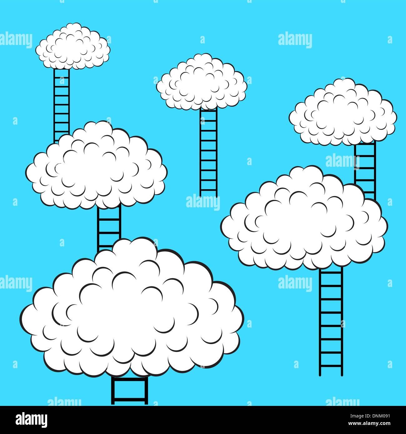 Nuvole con scale, illustrazione vettoriale Illustrazione Vettoriale