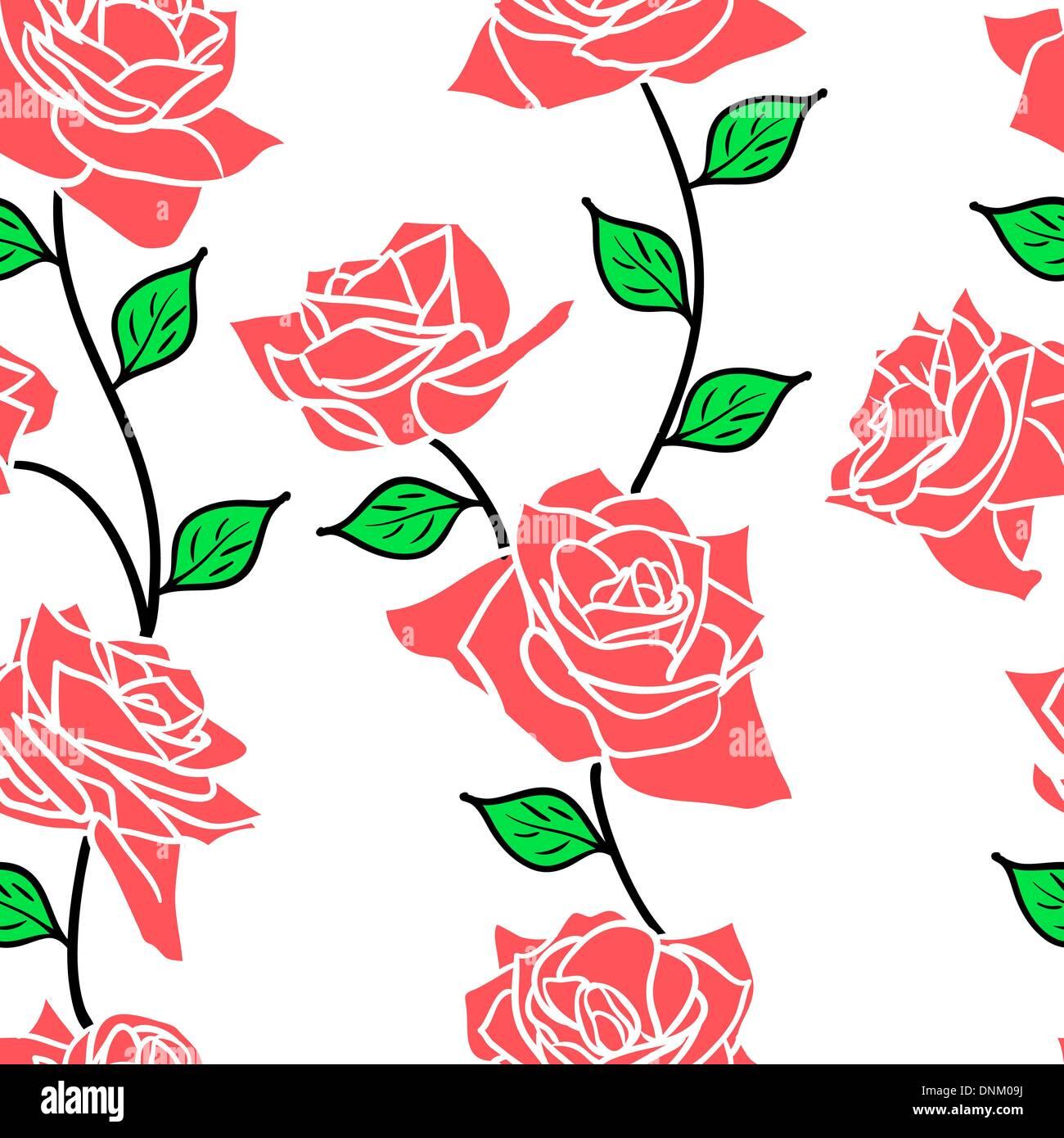 Bella la carta da parati senza giunture con rose fiori, illustrazione vettoriale Immagini Stock