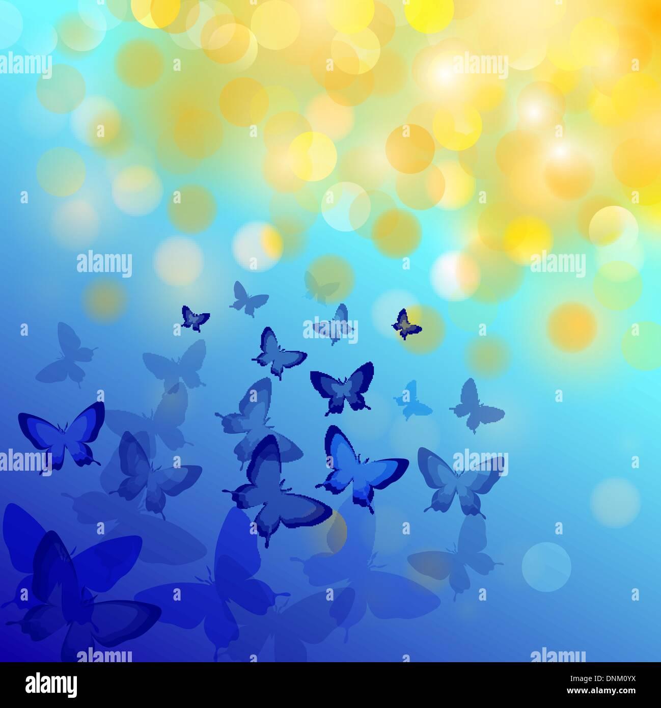 Abstract sfondo colorato con le farfalle. Un vettore. Immagini Stock