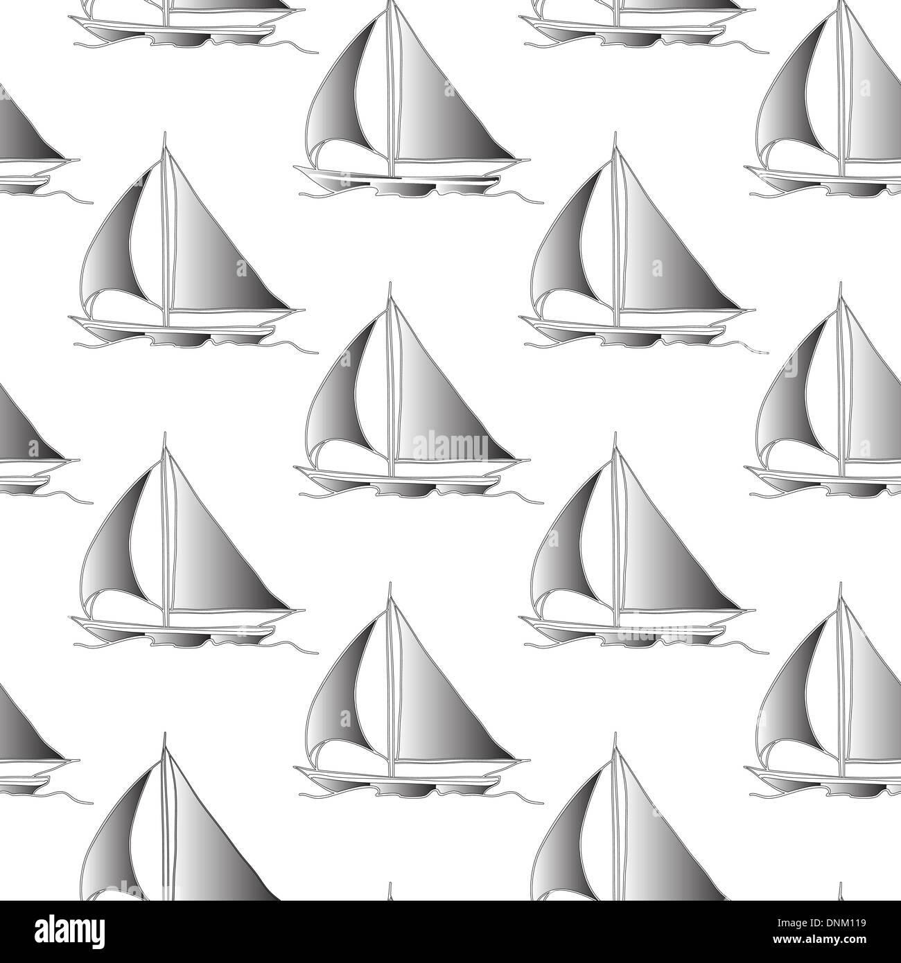 Carta da parati senza soluzione di continuità con una barca a vela sulle onde dell'oceano Immagini Stock