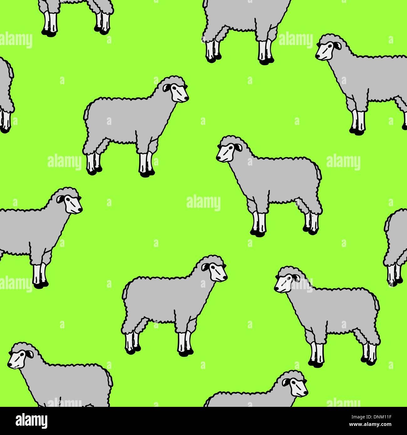Carta da parati senza giunture con Pecore ed arieti Immagini Stock