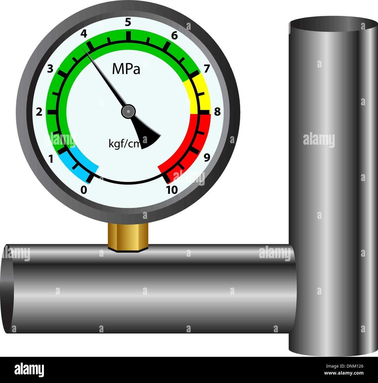 Il manometro del gas isolate su sfondo bianco Immagini Stock