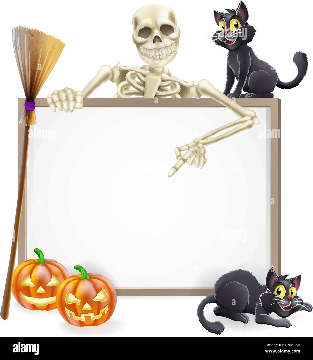 Un segno di Halloween con un classico carattere di scheletro con la punta  rivolta verso il 449fa875505b