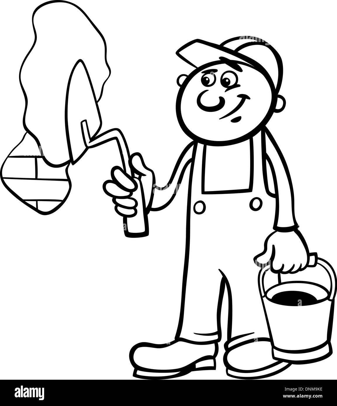 Bianco E Nero Cartoon Illustrazione Dell Uomo Lavoratore O Un