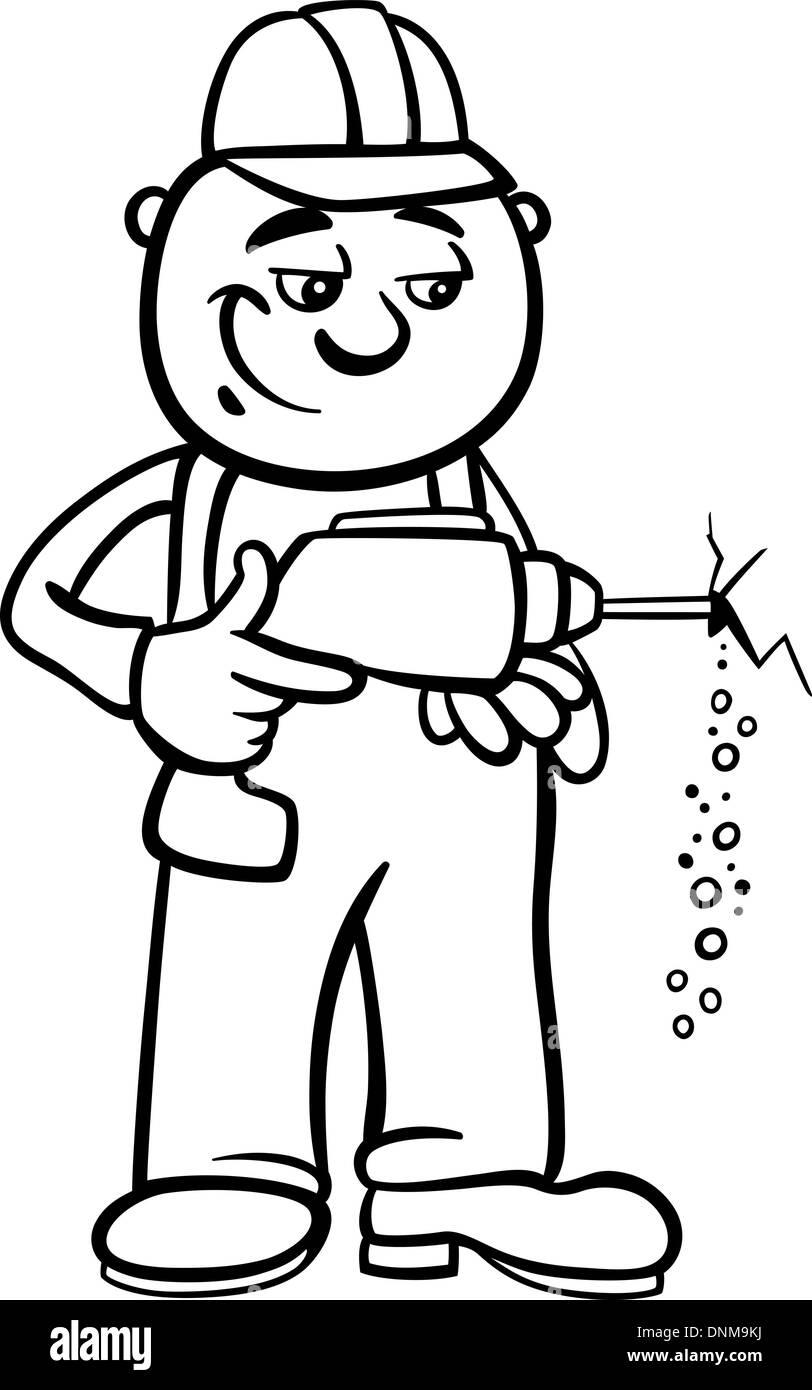 Bianco E Nero Cartoon Illustrazione Dell Uomo Lavoratore O Operaio