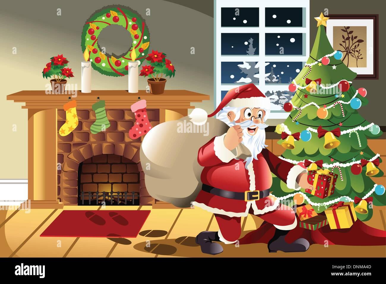 Regali Di Babbo Natale.Una Illustrazione Vettoriale Di Babbo Natale Che Porta Un Sacco Di Regali Di Natale La Caduta Di Una Presente Sotto L Albero Di Natale Immagine E Vettoriale Alamy