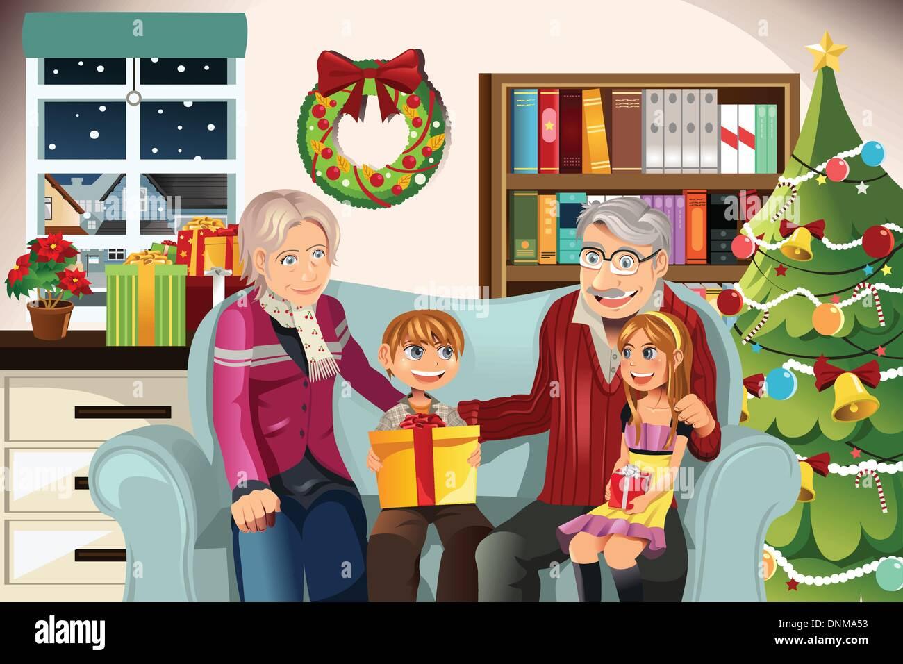 Regali Di Natale Per Nonni.Una Illustrazione Vettoriale Di Nonni Offrendo Regali Di Natale Per I Nipoti Immagine E Vettoriale Alamy