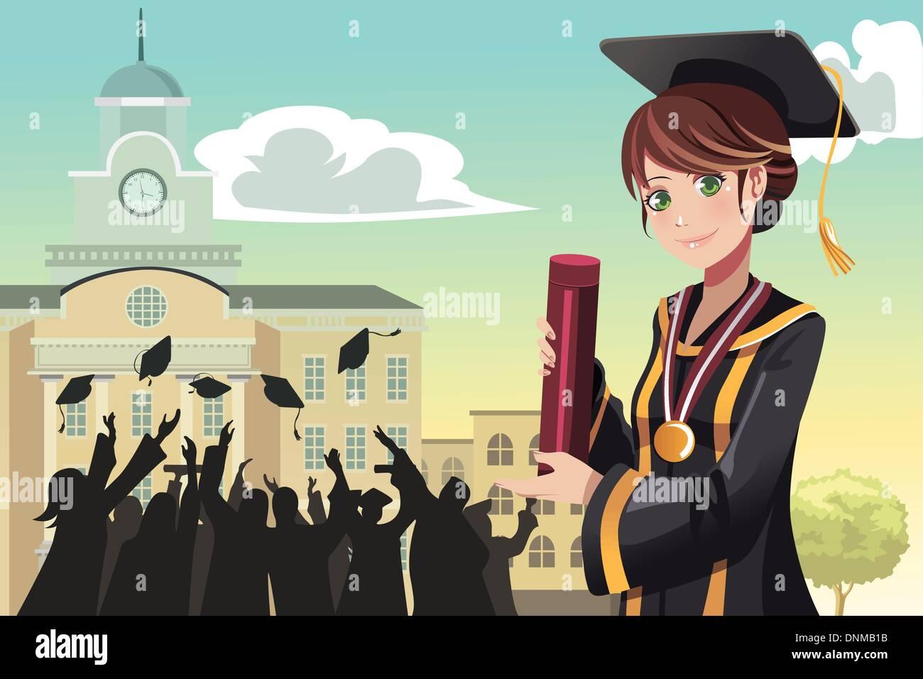 Una illustrazione vettoriale di graduazione di una ragazza con il suo diploma con i suoi amici in background Immagini Stock
