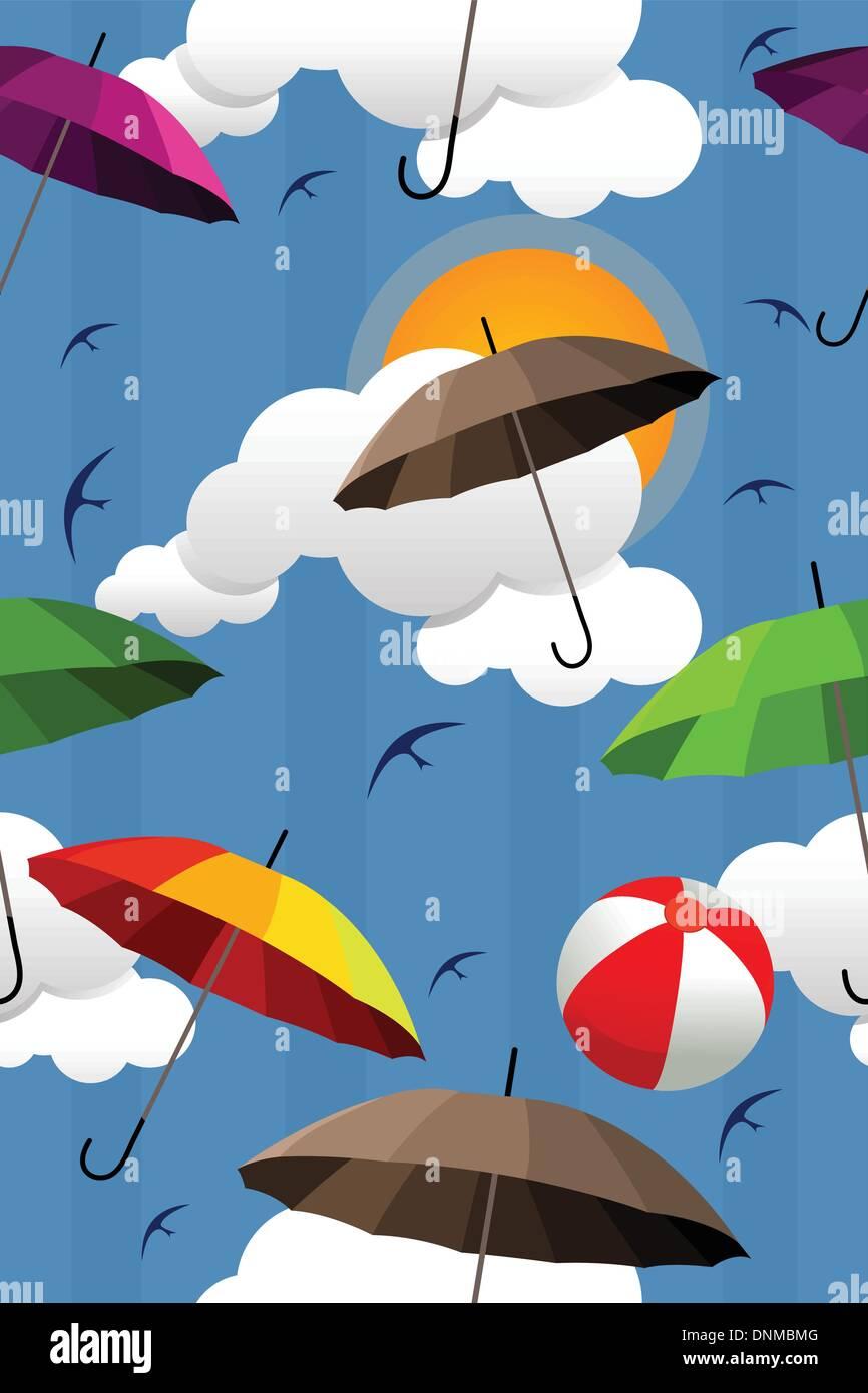 Una illustrazione vettoriale della carta da parati con ombrello coloratissimo pattern Immagini Stock