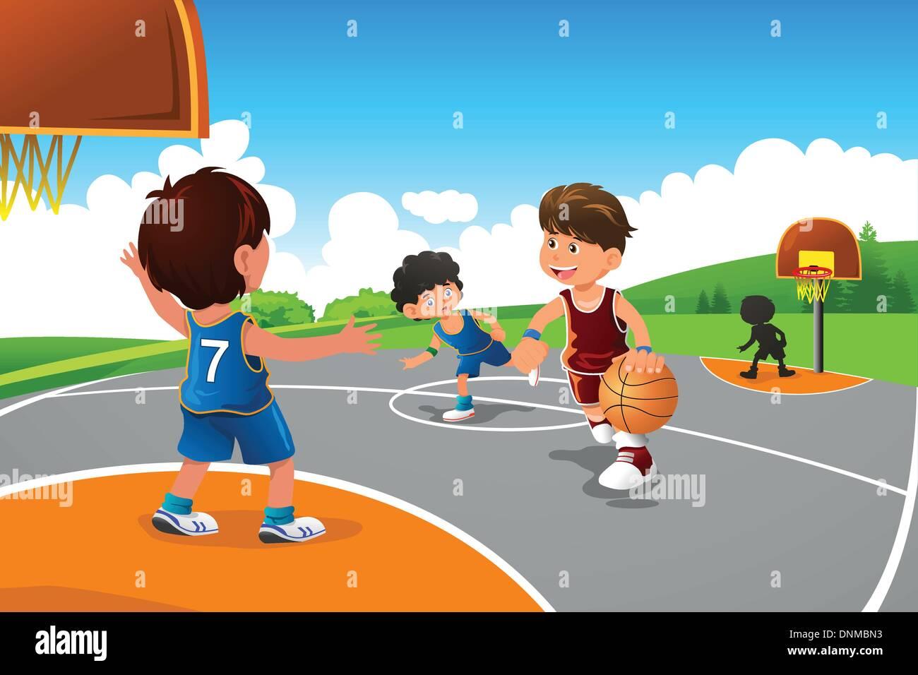 Una Illustrazione Vettoriale Di Ragazzi Che Giocano A Basket In Un