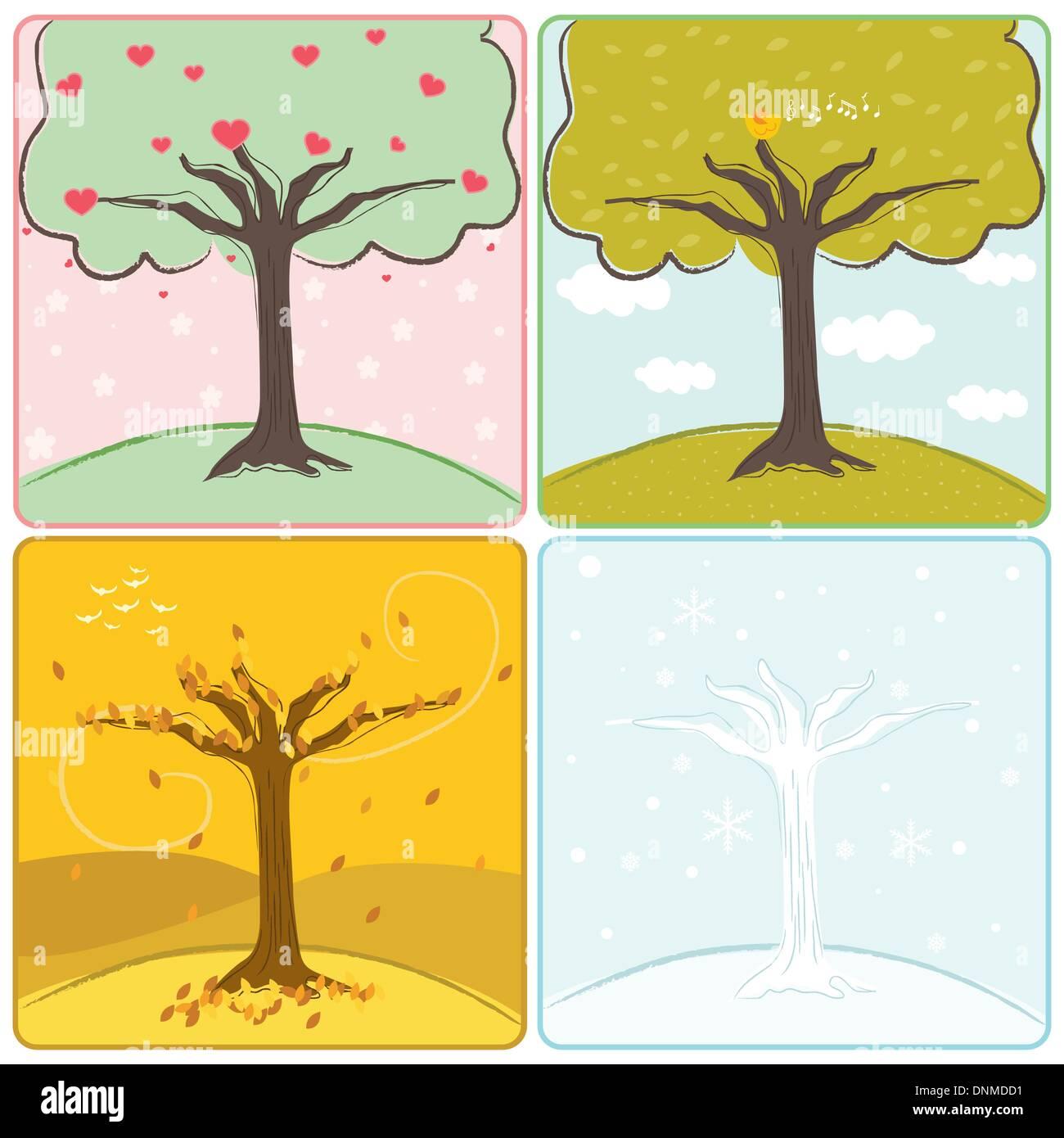 Una illustrazione vettoriale di un albero in quattro stagioni Immagini Stock