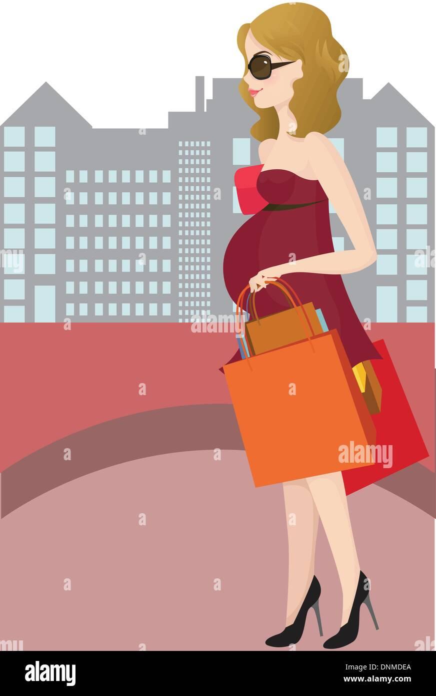 Una illustrazione vettoriale di una donna in stato di gravidanza andando shopping Immagini Stock